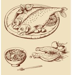 hand drawn seafood vector image