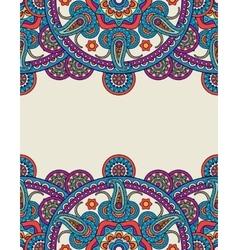 Ornate colored Indian paisley mandalas frame vector image vector image