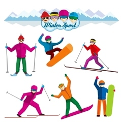 People involved in winter sport characters vector image