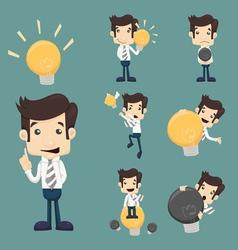 Set of businessman characters make idea vector image vector image