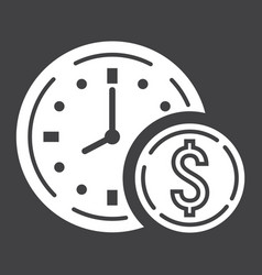 time is money glyph icon business and finance vector image vector image
