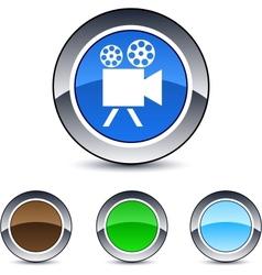 video camera round button vector image vector image