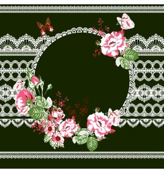 Vintage floral lace background with roses vector image vector image