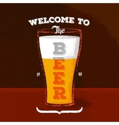 Vintage poster with beer and lettering vector image