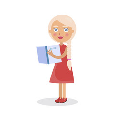 blond girl in red dress holds open book vector image