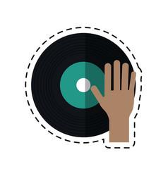 cartoon hand dj playing vinyl vector image