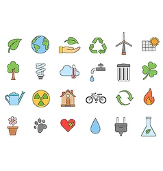 Eco colorful icons set vector image vector image