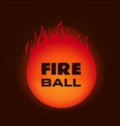 fire ball on dark background vector image vector image