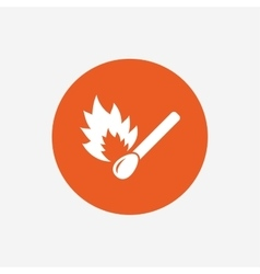 Match stick burns icon Burning matchstick sign vector image vector image