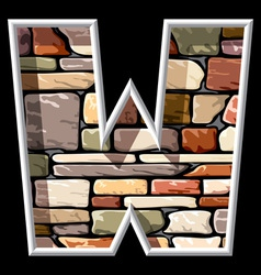 stone letter W vector image vector image