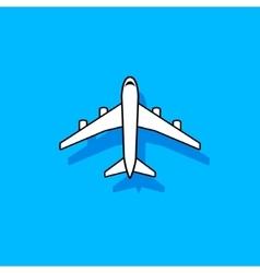 White plane flying over blue sky vector image vector image