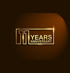 11 years anniversary golden design line style vector
