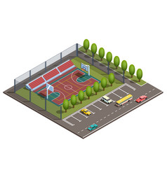 3d isometric basketball field car parking vector image