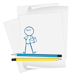A paper with a drawing of a boy holding an vector image