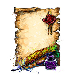 A parchment vintage scroll with pen and inkwell vector