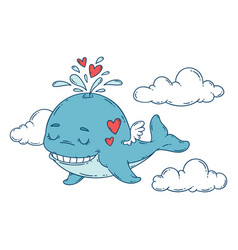a whale with wings in the sky with hearts vector image