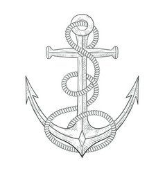 anchor with rope around hand drawn sketch vector image