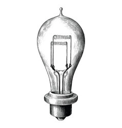 Antique engraving bulb lamp black and white vector