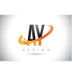 Ay a y letter logo with fire flames design vector
