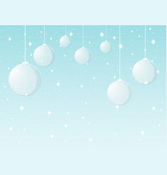 background with christmas balls and snowflakes vector image