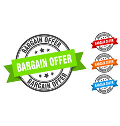 bargain offer stamp round band sign set label vector image