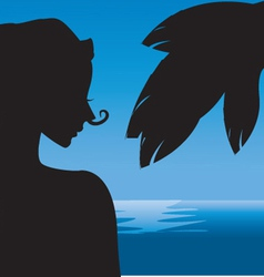 beach silhouette vector image