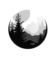 Beautiful nature landscape with silhouettes of vector