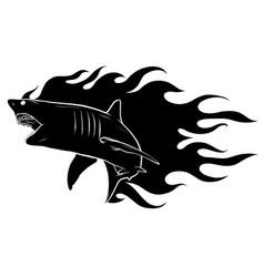 Black silhouette aggressive shark jump attack vector