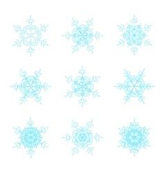 Blue snowflakes doodle design vector image