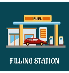 Car refueling at a filling station vector image