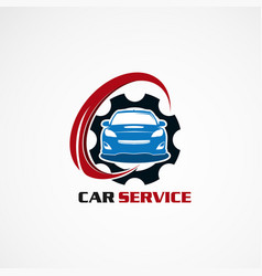 car service with blue gear logo icon element and vector image