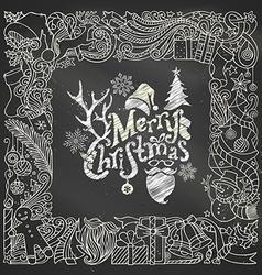Chalk Merry Christmas frame on blackboard vector