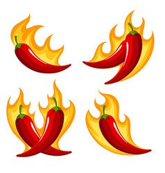 Chili peppers on fire retro emblem set vector