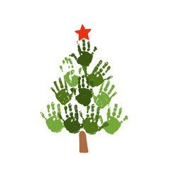 christmas tree of handprints with red star vector image