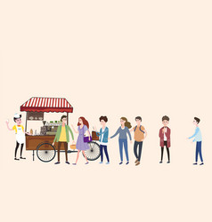 coffee cart barista colored coffee shop outdoor vector image