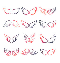 colorful wings line set vector image