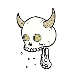 comic cartoon spooky skull vector image