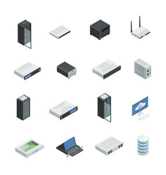 data center icon set vector image