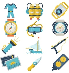 Diving sport flat color icons vector image