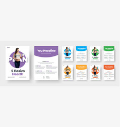 Double-sided leaflet template with colored vector