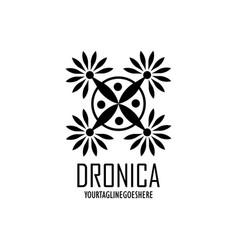 Drone logo tech design vector