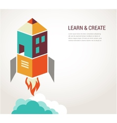 Education rocket online learning concept vector image