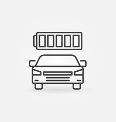 electric car with battery icon in thin line vector image
