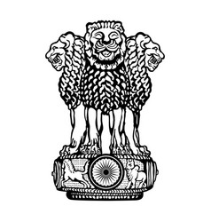 emblem of india black and white vector image