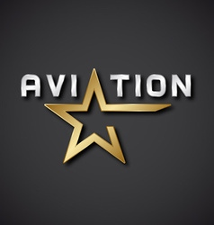 EPS10 aviation golden star inscription icon vector image