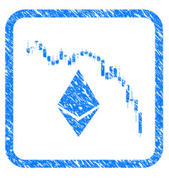 Ethereum fall chart framed stamp vector