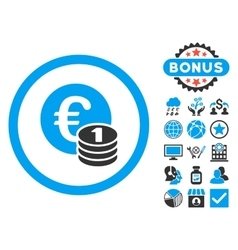 Euro Coins Flat Icon with Bonus vector image