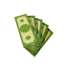 Fan of american banknotes green paper money five vector