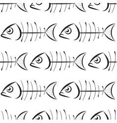 fish bone pattern on white background vector image