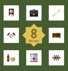 flat icon life set of beer with chips clock vector image